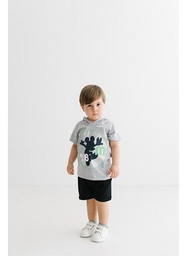 Mickey Mouse  Lisanslı Çocuk Kapüşonlu Tişört 17289 Gri